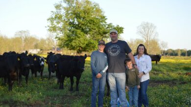Photo of Cody and Ashlee Askew named Southwest District Farm Family of the year