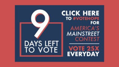 Photo of 9 Days Left to #VoteHope in America's Main Street Contest