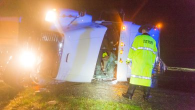 Photo of Truck Rollover Shut Down I-30 During Weekend Storm