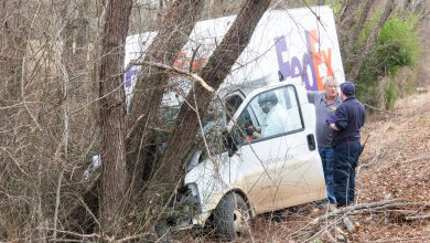 Photo of FedEx Driver Injured When Truck Crashes Into Tree