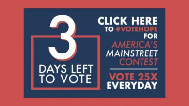 Photo of THREE Days Left to #VoteHope in America's Main Street Contest