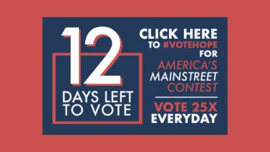 Photo of 12 Days Left to #VoteHope in America's Main Street Contest